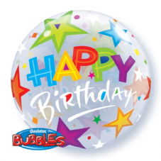 Happy Birthday Stars Bubble Balloon
